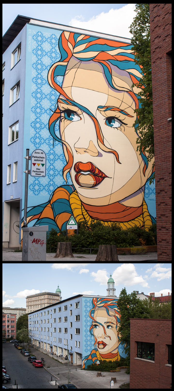 """15m x 12m mural i made in the beautiful F-Hain (Lasdehner Str 7) Inspiration is the Text """"Augen in der Großstadt"""" from K.Tucholsky"""